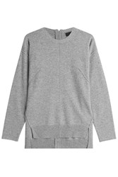 Steffen Schraut Cashmere Pullover With High Low Hemline Grey