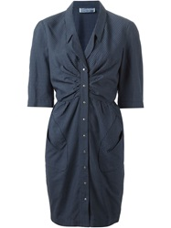 Thierry Mugler Vintage Checked Dress Blue