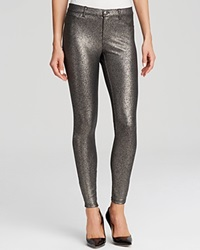 Hue Satin Jersey Metallic Gravel Leggings Black Pewter