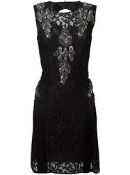 Alberta Ferretti Beaded Lace Dress Black