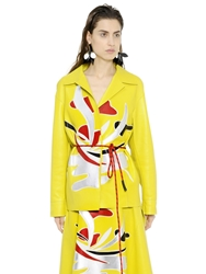 Marni Nappa Leather Jacket W Patchwork Detail Yellow