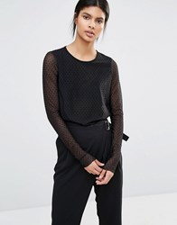 Y.A.S Dotto Long Sleeve Sheer Top Black