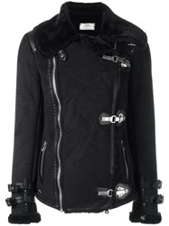 Urbancode Faux Shearling Biker Jacket Black