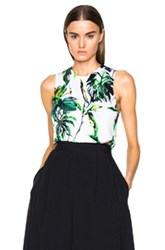 Proenza Schouler Tropical Print Cropped Knit Shell In White Floral Green