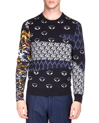 Kenzo Multi Icon Print Crewneck Sweater Navy
