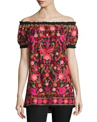 Naeem Khan Off The Shoulder Embroidered Peasant Top Black Red Women's