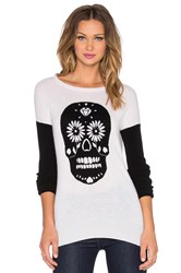 Autumn Cashmere Sugar Skull Crew Neck Sweater Ivory