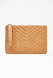 Forever 21 Chevron Quilted Faux Leather Clutch Tan