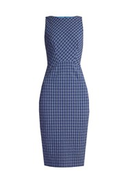 Altuzarra Shadow Checked Seersucker Dress Blue Multi
