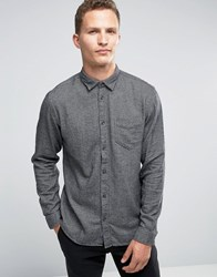 Selected Homme Flannel Twill Shirt In Regular Fit Mirage Grey