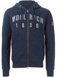 Woolrich Embroidered Logo Hoodie Blue