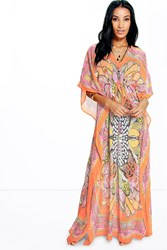 Boohoo Butterfly Print Maxi Beach Cover Up Orange