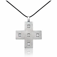 Zable Stainless Steel And Zircons Cross Pendant W Lace Silver