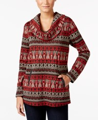 Styleandco. Style Co. Jacquard Cowl Neck Top Only At Macy's Red