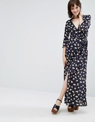Goldie Great Lengths Floral Long Sleeved Maxi Dress With Leg Split Blue