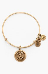 Women's Alex And Ani 'Initial' Adjustable Wire Bangle X Russian Gold