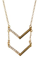Argentovivo 18K Yellow Gold Plated Sterling Silver Cz Chevron Pendant Necklace Metallic