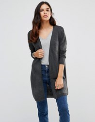 Only Olivia Long Sleeve Ribbed Cardigan Dark Grey Melange