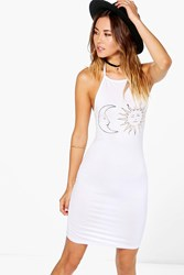 Boohoo Sun And Moon Foil Print Bodycon Dress White