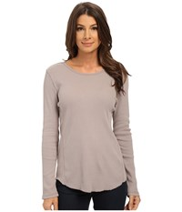 Dylan By True Grit Long Sleeve Cotton Tee With Soft Knit Side Panel Silver Grey Women's T Shirt Gray