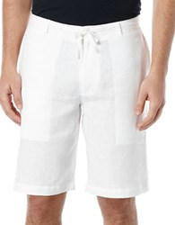 Perry Ellis Linen Drawstring Shorts Bright White