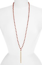 Women's Sequin Long Beaded Tassel Necklace Red Gold