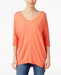 Eileen Fisher High Low Scoop Neck Sweater Guava