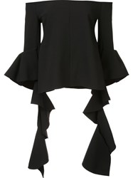 Ellery Off Shoulder Ruffle Sleeve Top Black