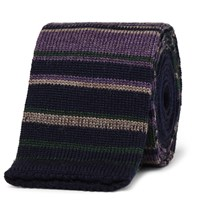 Etro Striped Knitted Wool Tie Green