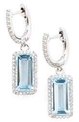 Women's Lafonn 'Aria' Emerald Cut Drop Earrings Silver Blue Topaz