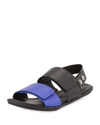Atelje71 Flora Leather Slingback Sandal Black Royal Blue