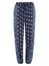 Accessorize Bianco Block Print Trousers Blue
