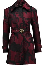 Just Cavalli Belted Jacquard Coat Burgundy