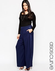 Asos Curve Palazzo Trousers With Tuxedo Trim Navy