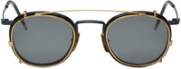 Thom Browne Navy And Gold Clip On Sunglasses