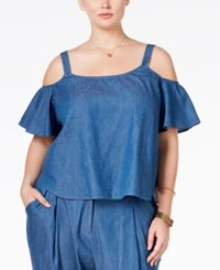 Stoosh Plus Size Cold Shoulder Chambray Top