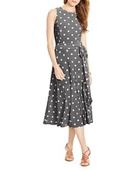 Lauren Ralph Lauren Polka Dot Print Dress Slate Col Cream