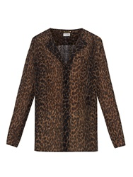 Saint Laurent Leopard Print Silk Georgette Shirt