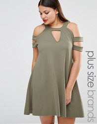 Pink Clove Cold Shoulder Swing Dress Khaki Green
