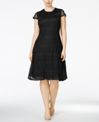 Alfani Plus Size Fit And Flare Lace Dress Only At Macy's Deep Black