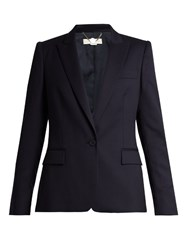 Stella Mccartney Ingrid Single Breasted Wool Tailored Jacket Navy