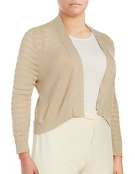 Calvin Klein Plus Ribbed Metallic Cardigan Khaki Gold