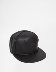 Asos Leather Look Cap With Embroidery Black