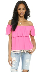 Tbags Los Angeles Ruffle Off The Shoulder Top Hot Pink
