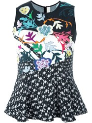 Peter Pilotto Embroidered Peplum Blouse Multicolour