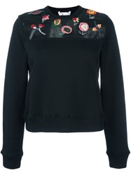 Red Valentino Applique Flower Sweatshirt Black
