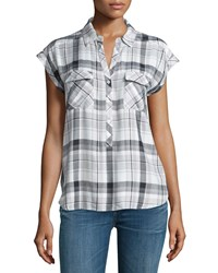 Soft Joie Johnesha Plaid Button Down Top Porcelain
