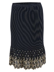 Chesca Spot Print Embroidered Crush Pleat Skirt Navy