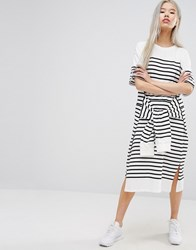 Style Nanda Stylenanda Oversized Midi T Shirt Dress With Tie Waist In Stripe Multi Black