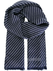 Giorgio Armani Striped Scarf Blue